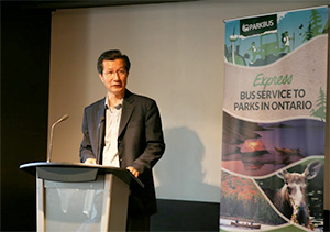 Hon. Michael Chan, Miniter of Tourism Culture and Sport at Parkbus 2012 Season Launch